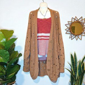 Forever 21 Tan Dotted Open Knit Oversized Cardigan